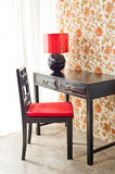 Luxury work desk with floral wallpaper Royalty Free Stock Photos