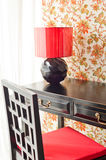 Luxury work desk with floral wallpaper Stock Photos