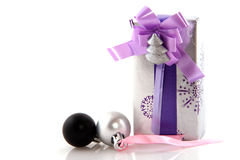 Luxury wrapped silver present Royalty Free Stock Photos