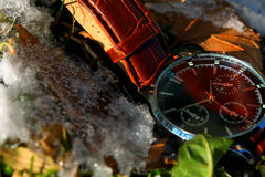 Luxury Wristwatch in Snow. Down Stock Photography