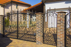 Luxury Wrought Iron Fence Detail Royalty Free Stock Photos