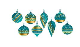 Luxury xmas bauble set vector illustration. Concept geometric Christmas ball motif for card, invitation, header print and web design Royalty Free Stock Photography