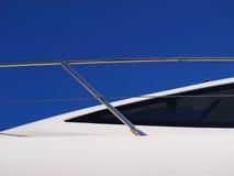 Luxury Yacht. Detail against deep blu sky stock image