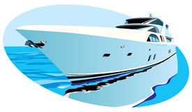 Luxury yacht. Vectoral oval vignette with large luxury yacht on background of ocean. Contains gradients and blends Royalty Free Stock Photos