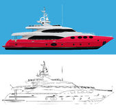 Luxury yacht. Isolated collection of yacht over white background Stock Images