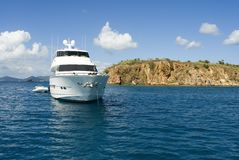 Luxury Yacht. A luxury yacht anchored in the Caribbean stock image