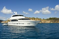 Luxury Yacht. A luxury yacht anchored in the Caribbean royalty free stock photos