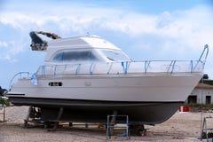 Luxury yacht. Luxurious yacht in maintenance at the marina Royalty Free Stock Photo