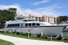 Luxury Yacht. Docked in a harbor Stock Photography