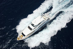 Luxury Yacht. Aerial view of Luxury Yacht underway stock photography