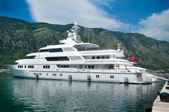 Luxury yacht. Large luxury yacht anchored at Montenegro royalty free stock photos