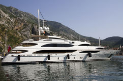 Luxury yacht. Anchored in the port Royalty Free Stock Photo