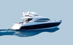 Luxury yacht. Black and white isolated luxury yacht on the sea Royalty Free Stock Photos