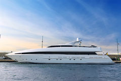 Luxury yacht. Large luxury yacht anchored at St. Tropez in French Riviera Royalty Free Stock Images