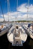 Luxury yacht. Waiting at the harbor Royalty Free Stock Photo