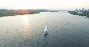 Luxury yacht aerial footage aerial. Luxury yacht family footage aerial stock footage
