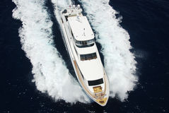 Luxury Yacht aerial view Royalty Free Stock Photography