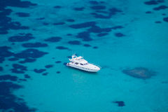 Luxury yacht alone aerial view Stock Photography