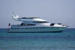 Luxury yacht at anchor. Saint-tropez, french riviera - adobe RGB royalty free stock image
