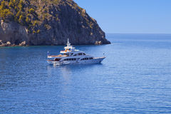 Luxury yacht anchorage in Greece royalty free stock photos