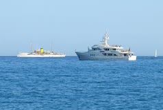 Luxury Yacht And Old Passenger Ship Stock Image