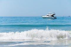 Luxury yacht on the Atlantic Ocean Stock Photos