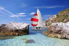 Luxury yacht in azure bay Royalty Free Stock Image