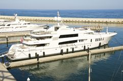 Luxury yacht in Barcelona Royalty Free Stock Images