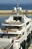 Luxury yacht in Barcelona Royalty Free Stock Photography