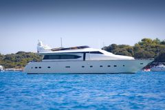 Luxury yacht in a bay Royalty Free Stock Photography