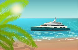 Luxury Yacht, beach, palm summer vacation travel royalty free illustration