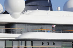 Luxury yacht being cleaned Stock Image