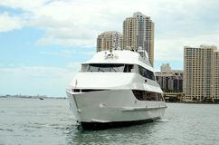Luxury yacht in Miami, Florida. stock photos
