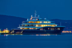 Luxury yacht blue evening view Royalty Free Stock Photography