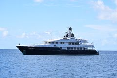Luxury yacht in blue and white on the ocean Stock Image