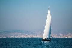Luxury yacht boat in sailing regatta on the sea. Sport. Royalty Free Stock Photos