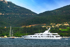 Luxury yacht at the coast of French Riviera Stock Image
