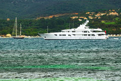 Luxury yacht at the coast of French Riviera Stock Images