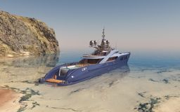 Luxury yacht in a coastal landscape. Computer generated 3D illustration with a luxury yacht in a coastal landscape Stock Photography
