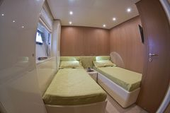 Luxury yacht Continental 80, guests bedroom Stock Image