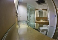 Luxury yacht Continental 80, master bathroom Royalty Free Stock Photos