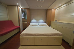 Luxury Yacht Continental 80, Master Bedroom Stock Images