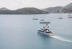 Luxury Yacht Crossing Bay Stock Photos