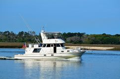 Luxury yacht cruising Florida river Stock Photography