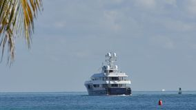 Luxury yacht departing Miami Beach stock video footage