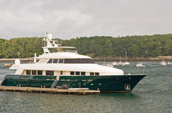 Luxury yacht at dock Stock Images