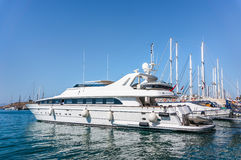 Luxury Yacht docked at Bodrum port royalty free stock photos