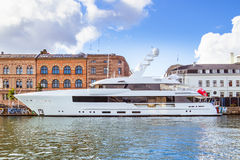 Luxury yacht docked Stock Photo