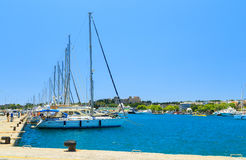 Luxury Yacht docked at Rhodes Port,Greece sunny day Royalty Free Stock Photos