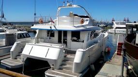 Luxury yacht docked Royalty Free Stock Images